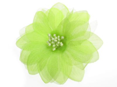 Lime Organza Flower Hair Clip/Brooch