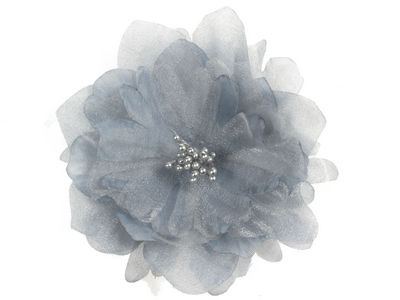 Silver Large Shimmer Flower Hair Clip