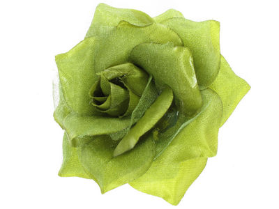 Green Rose Flower Hair Clip