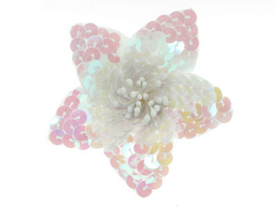 White Sequin Flower Hair Ponytailer Elastic