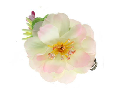 Cream Pink Wild Rose Beak Hair Clip