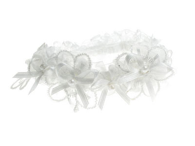 White Bead Bow Garter