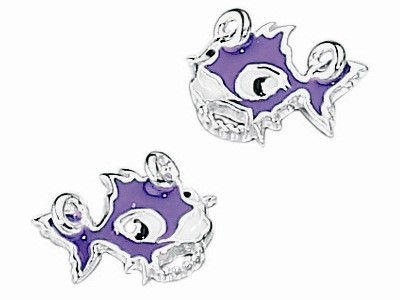 Purple Punky Fish Stud Earrings