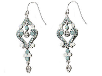 Green Crystal Scroll Earrings