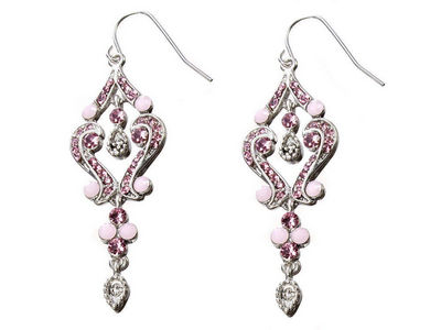 Rose Crystal Scroll Earrings