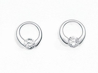 CZ Open Disc Stud Earrings