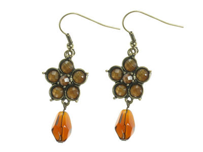 Amber Bead Flower Earrings