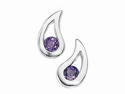 Amethyst Tear Drop Stud Earrings