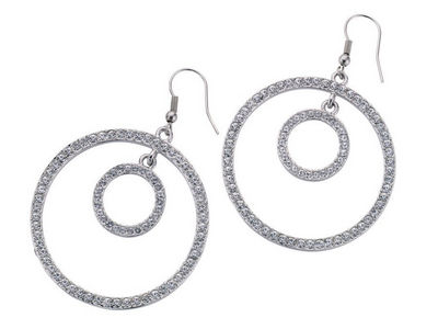 Crystal Double Ring Earrings