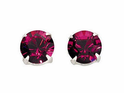Fuchsia Large Crystal Stud Earrings