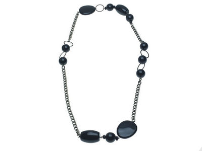 Chunky Black Bead Necklace