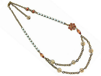 Bronze Flower Crystal Necklace