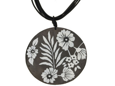 Black Flower Disc Pendant