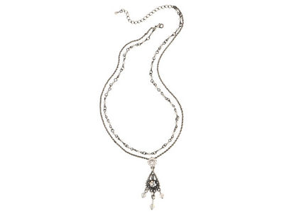 Clear Double Row Crystal Necklace