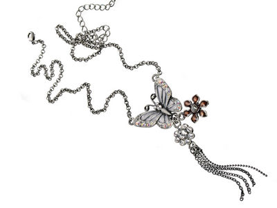 Silver Crystal Butterfly Necklace