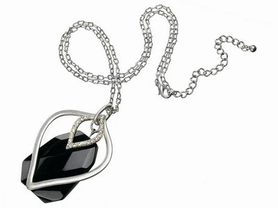 Crystal Black Glass Pendant