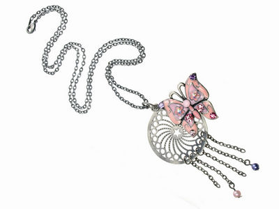 Crystal Pink Butterfly Charm Pendant