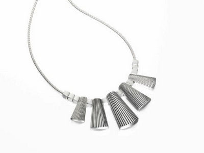 Fiorelli Silver Worn Textured Bar Necklace