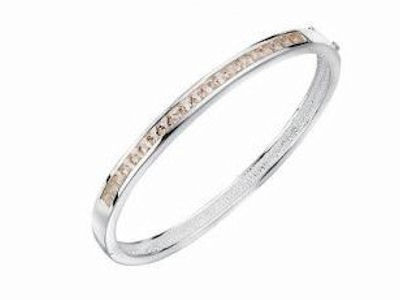 Champagne Crystal Sterling Silver Bangle