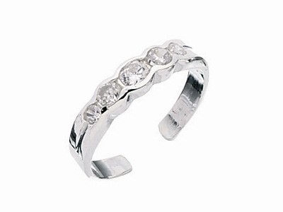 Sterling Silver Crystal Toe Ring
