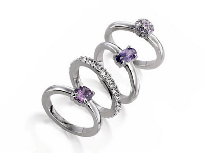 Fiorelli Amethyst Crystal Set Stacking Rings