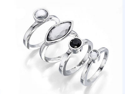 Fiorelli Crystal Set Stacking Rings