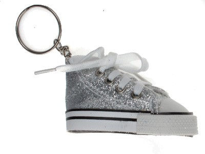 Silver Glitter High Top Shoe Keyring