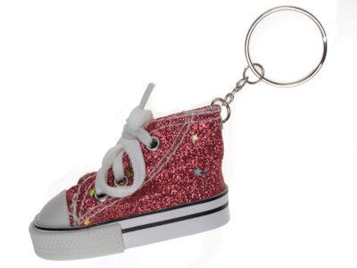 Red Glitter High Top Shoe Keyring