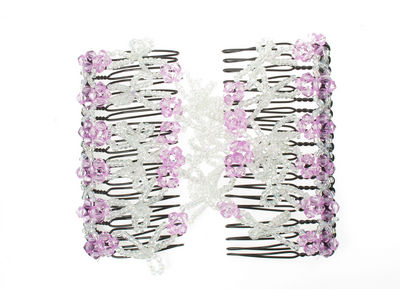 Lilac Loop Beaded Double Hair Comb