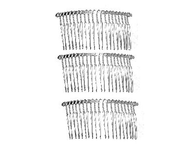 3 Silver Side Hair Combs