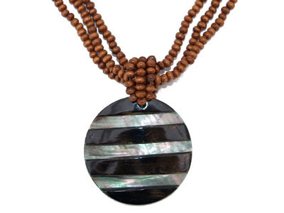 Striped Shell Disc Pendant