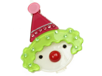 Clown Resin Hair Clip - Lime