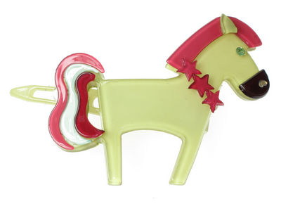 Pony Resin Hair Clip - Green
