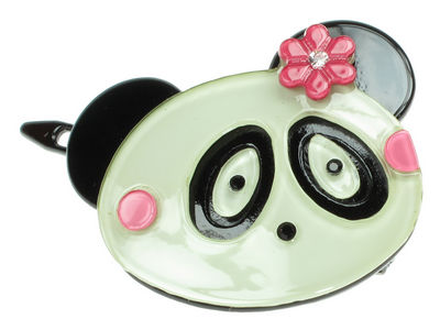 Panda Resin Hair Clip - Pink
