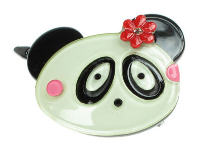 Panda Resin Hair Clip - Red