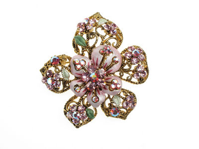 Pink Flower Crystal Brooch