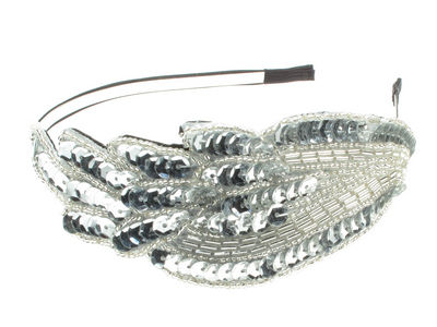 Edwardian Silver Leaf Hair Band