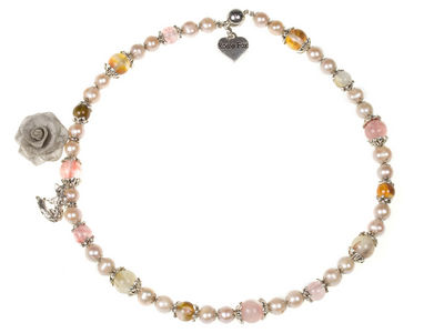 Pink Pearl Charm Necklace