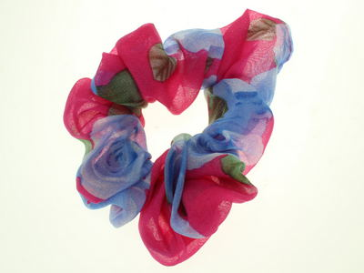 Deep Pink Rose Scrunchie Hair Bobble