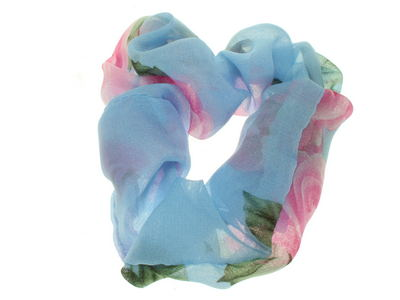 Sky Blue Rose Scrunchie Hair Bobble
