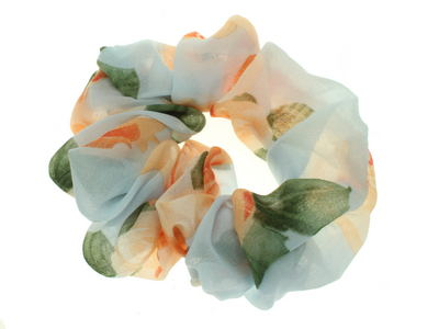 Pale Blue Rose Scrunchie Hair Bobble