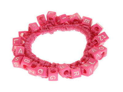 Hot Pink Alphabet Bead Scrunchie Hair Bobble