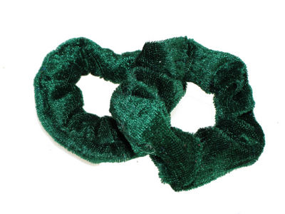 Bottle Green Small Velvet School Scrunchie Bobbles