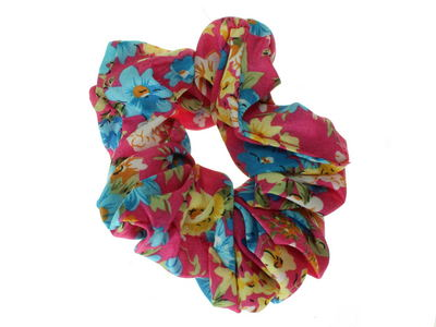 Pink Floral Print Scrunchie Hair Bobble