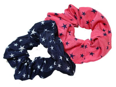 Navy/Pink Star Print Scrunchie Hair Bobbles