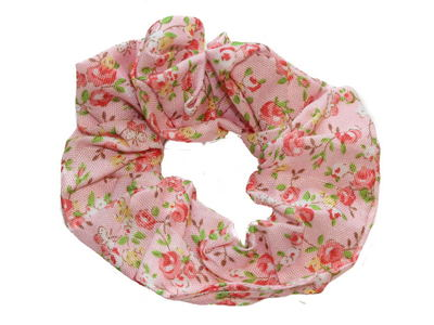 Pink Ditsy Rose Print Scrunchie Hair Bobble