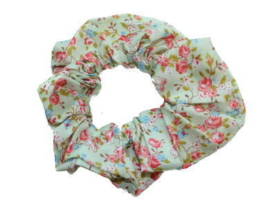 Green Ditsy Rose Print Scrunchie Hair Bobble