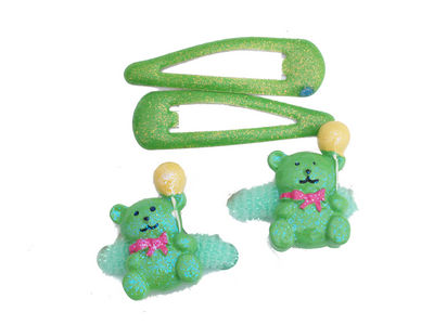 Green Glitter Teddy Hair Set