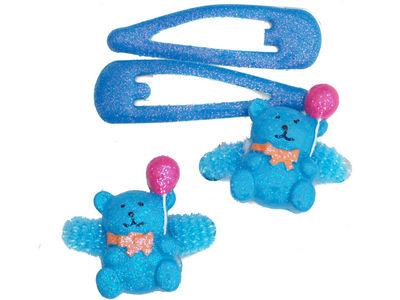 Blue Glitter Teddy Hair Set