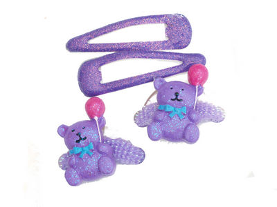 Purple Glitter Teddy Hair Set